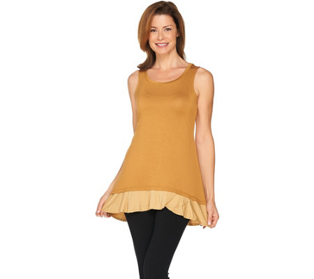 LOGO Layers by Lori Goldstein Color-Block Knit Tank with Ruffle Hem