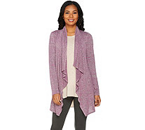 LOGO by Lori Goldstein Drape Front Space Dye Knit Cardigan - A286963