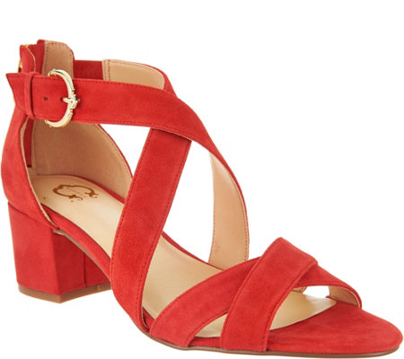 C. Wonder Suede Cross Band Sandals with Block Heel