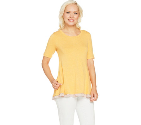 LOGO by Lori Goldstein Heather Crepe Knit Top with Eyelet Trim