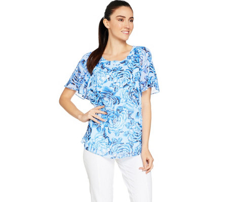 Isaac Mizrahi Live Floral Print Flounce Sleeve Woven Blouse