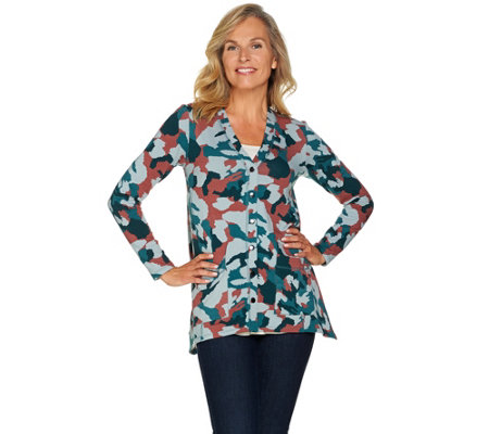 """As Is"" LOGO Lounge by Lori Goldstein Printed French Terry Cardigan"