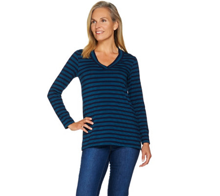 """As Is"" Susan Graver Weekend Striped Modal Cotton V-Neck Top"