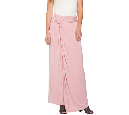 """As Is"" H by Halston Regular Knit Maxi Skirt with Side Knot Detail"