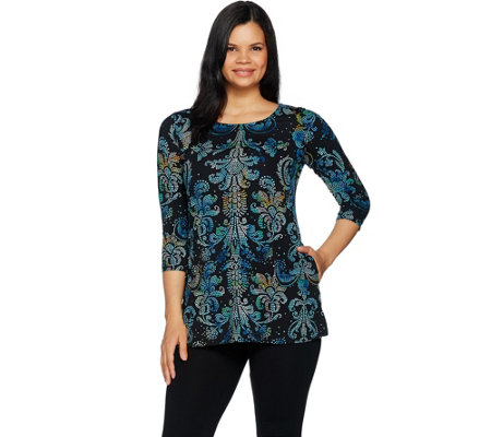 Attitudes by Renee Printed Tunic with Pockets