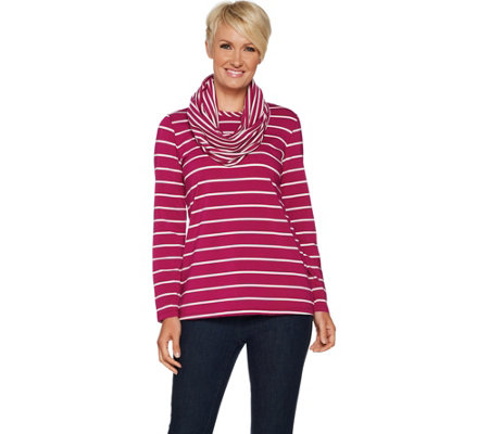 Susan Graver Weekend Striped Cotton Modal Top with Scarf