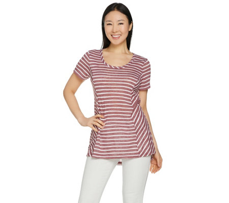 """As Is"" Lisa Rinna Collection Sheer Striped Knit Top"