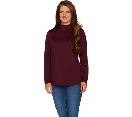 Denim & Co. Mock Neck Long Sleeve Top w/ Seam Detail and Hi-Low Hem