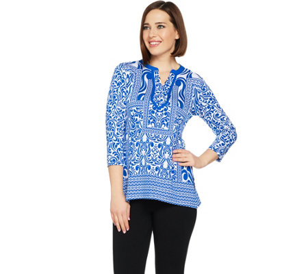 As Is Susan Graver Weekend Printed Stretch Cotton Modal Top