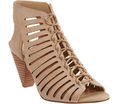 Vince Camuto Nubuck Leather Peep Toe Sandals - Evalan