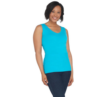 Linea by Louis Dell'Olio Whisper Knit V-Neck Tank w/Ribbed Detail