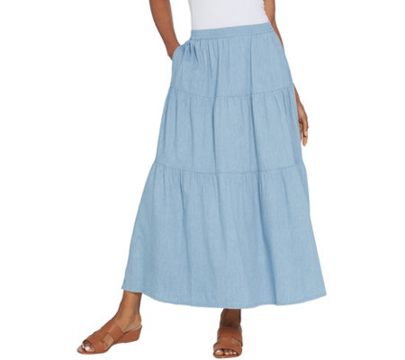 Denim & Co. Regular Stretch Chambray Tiered Pull-On Maxi Skirt