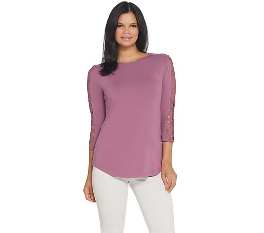 Joan Rivers Jersey Knit Top with 3/4 Lace Sleeves