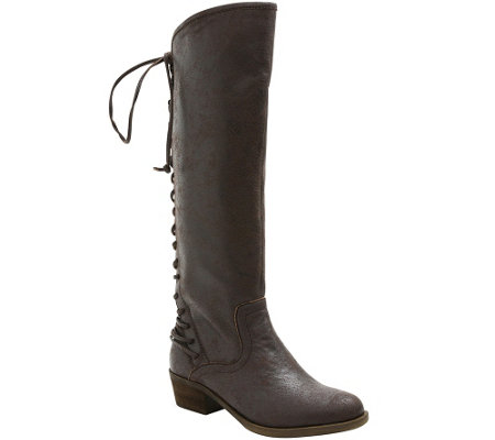 Kensie Lace-up Knee-High Boots - Garvey