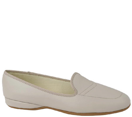 1384d0377fe430 Daniel Green Leather Slip-on Slippers with Back- Meg — QVC.com