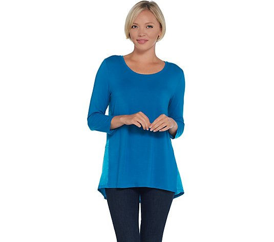 H by Halston 3/4 Sleeve Knit Tunic with Woven Back Shirring Detail