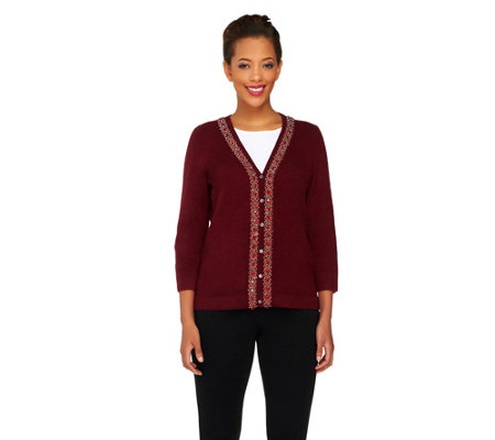 """As Is"" Isaac Mizrahi Live! 2-Ply Cashmere Beaded Cardigan"