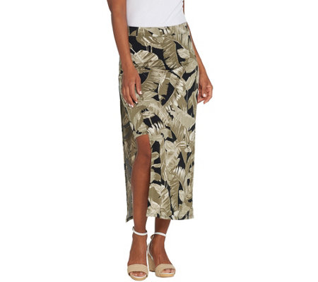"""As Is"" G.I.L.I. Jetsetter Petite Side Slit Maxi Skirt"