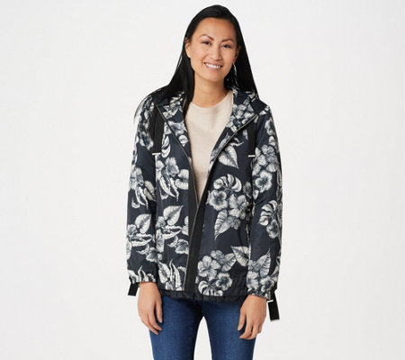 Dennis Basso Printed Water Resistant Hooded Jacket with Trim