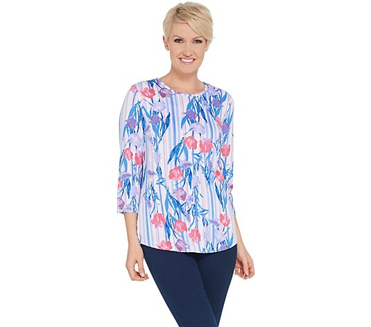 Denim & Co. Printed Heavenly Jersey Hi-Low Hem Top