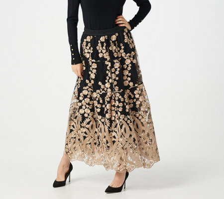 Linea by Louis Dell'Olio Regular Embroidered Skirt