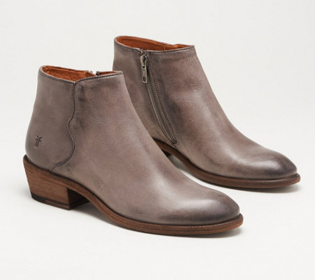 Frye Suede Zip Ankle Boots - Carson Piping