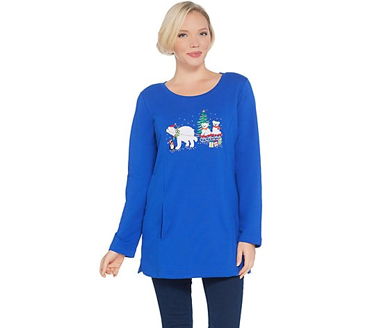 """As Is"" Quacker Factory Holiday French Terry Tunic with Pockets"
