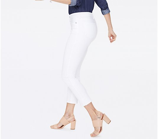 NYDJ Sheri Slim Ankle Jeans with Side Slits - Optic White