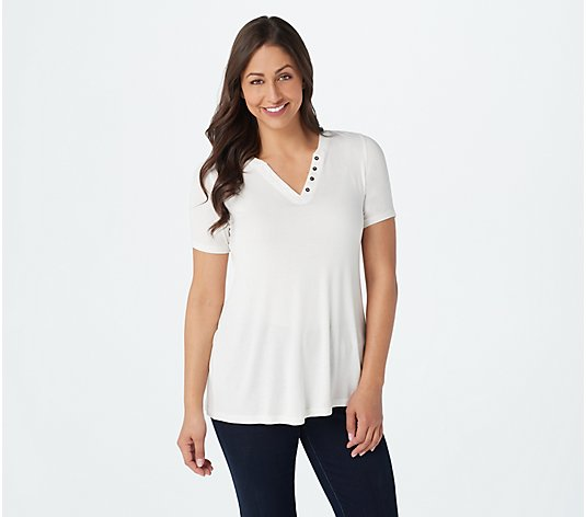 LOGO by Lori Goldstein Fine Gauge Rib Knit Top with Button Neckline