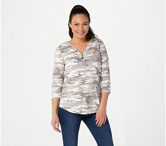 Belle by Kim Gravel TripleLuxe Knit Signature Zip Printed Top
