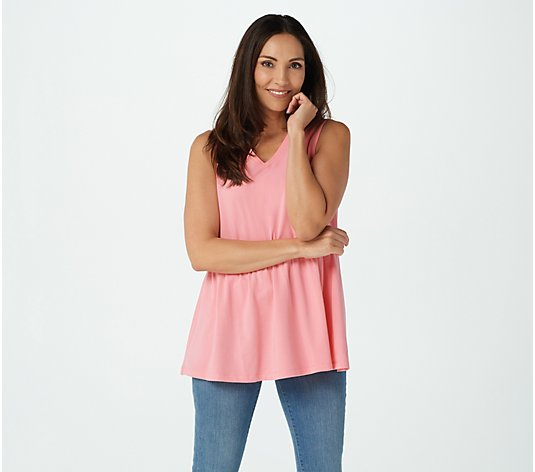 Denim & Co. Essentials Jersey V-Neck Peplum Tunic
