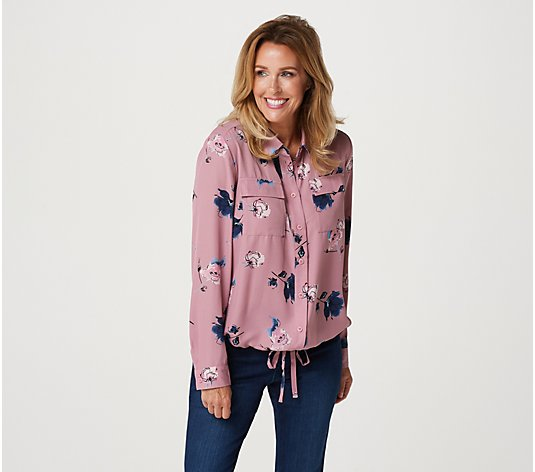 Belle by Kim Gravel Sketchy Floral Tie Front Blouse