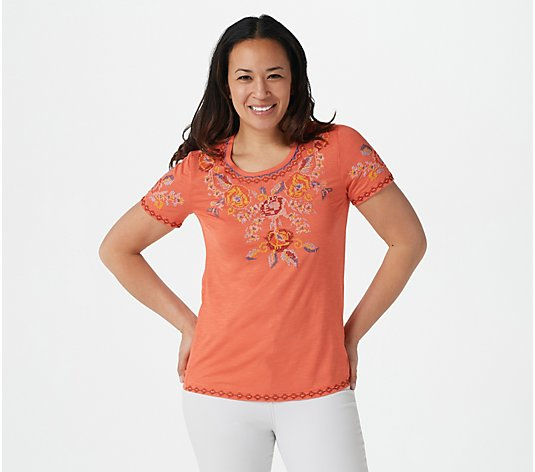 Tolani Collection Floral Embroidered Top
