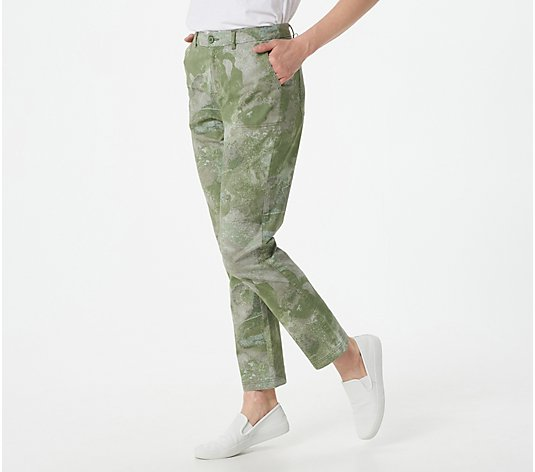 Denim & Co. Patterned EasyWear Twill Full-Length Pants