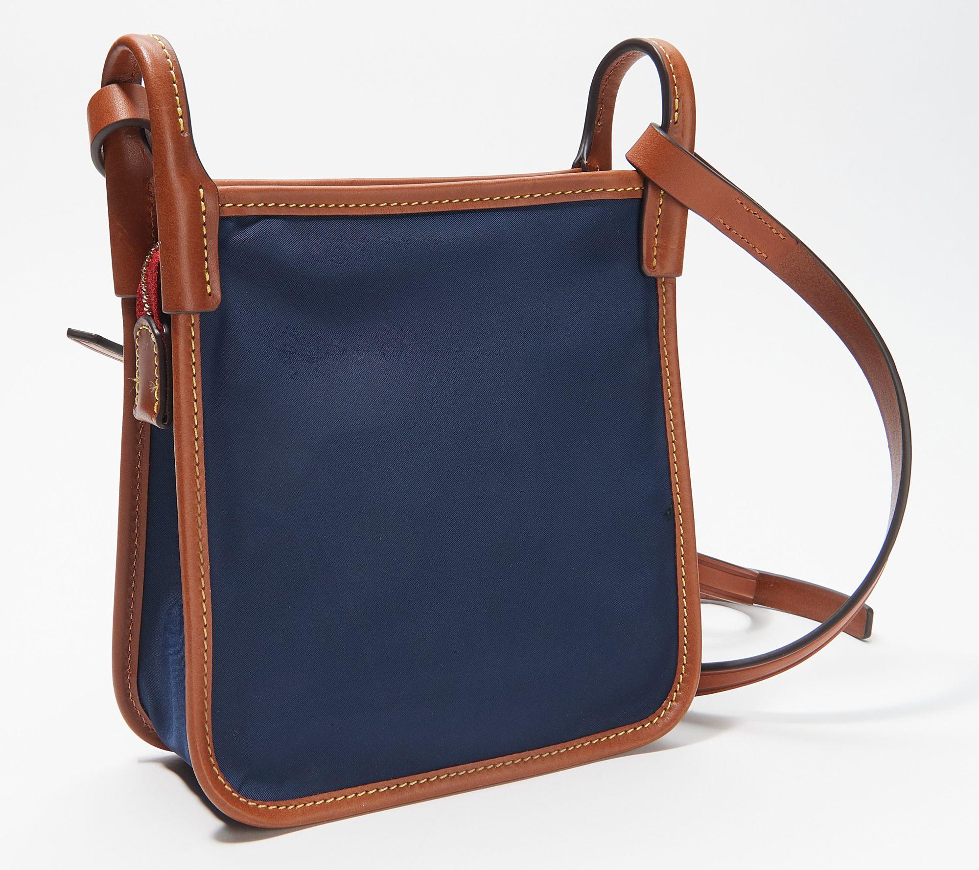 Dooney /& Bourke Crossbody Red Nylon Letter Carrier Brown Leather Trim Top Zip