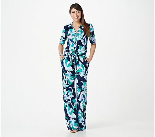G.I.L.I. Regular Printed Knit Button Front Jumpsuit