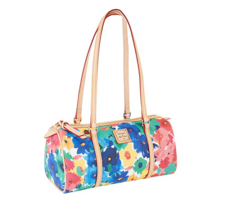 Dooney & Bourke Coated Cotton Watercolor Printed Barrel Bag