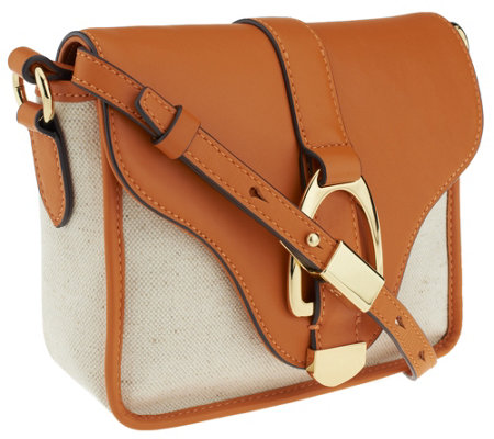 """As Is"" G.I.L.I. Canvas and Leather Crossbody Bag"
