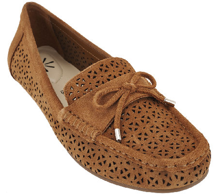 Isaac Mizrahi Live! Perforated Suede Moccasins with Bow