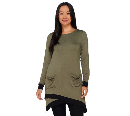 LOGO by Lori Goldstein Long Sleeve Knit Top with Ribbed Trim