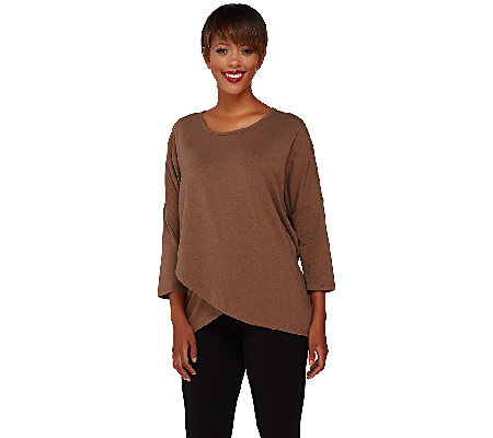 Denim & Co. Dolman 3/4 Sleeve Crossover Front Top