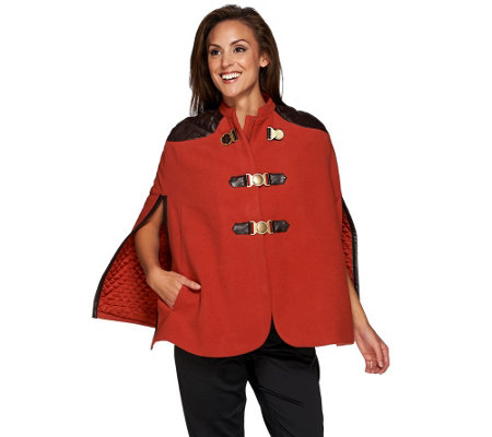 G.I.L.I Buckle Front Cape with Faux Leather Trim