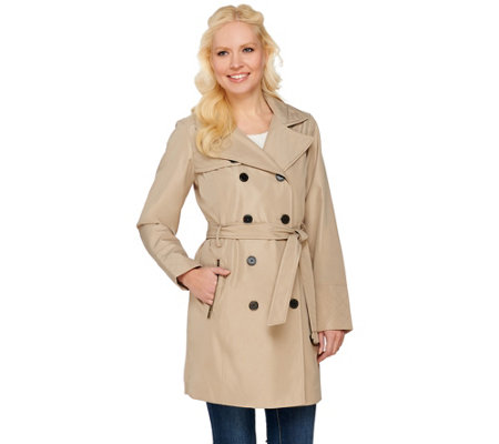 Liz Claiborne New York Double Breasted Trench Coat with Quilting
