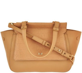 H by Halston Crossbody Satchel with Croco Embossed Flap - A274064 aba0f2bcdf3d3