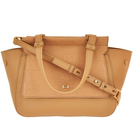H by Halston Crossbody Satchel with Croco Embossed Flap