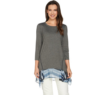 LOGO Lounge by Lori Goldstein French Terry Knit Top with Side Godets