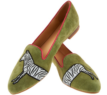 C. Wonder Zebra Embroidered Suede Loafers - Cara