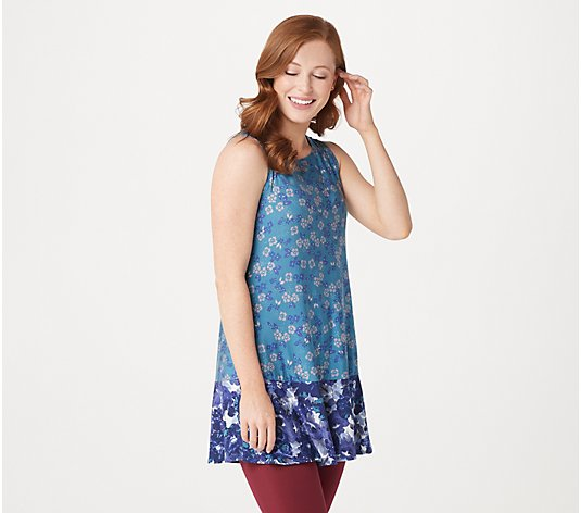 LOGO Layers by Lori Goldstein Double Print Knit Tank with Ruffle Hem