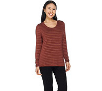 Lisa Rinna Collection Long Sleeve Foil Printed Knit Top - A285564