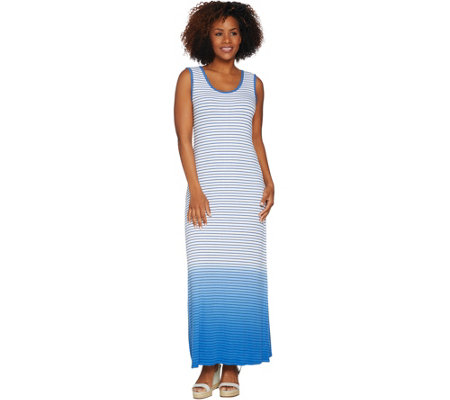 Lisa Rinna Collection Regular Dip Dye Striped Knit Maxi Dress